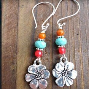 Stone Glass Bead Flower Dangle Earrings